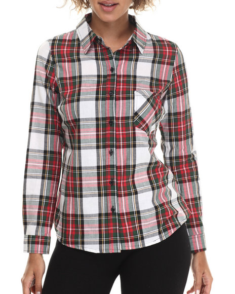 Ur-ID 212938 ALI & KRIS - Women Green Plaid L/S Button Down