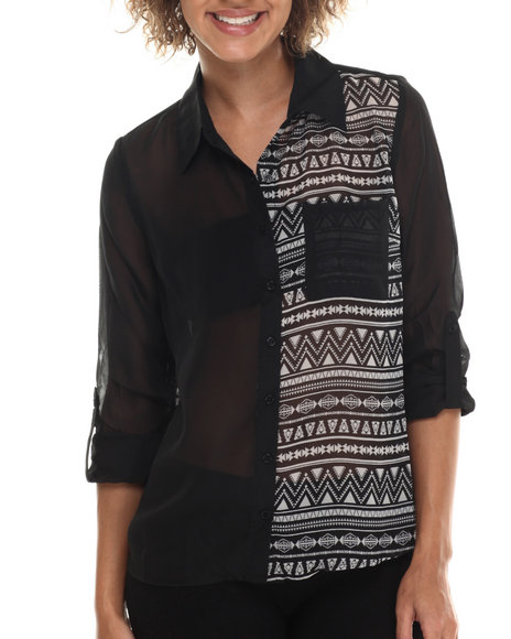 Ali & Kris - Women Black Aztec Chiffon L/S Button Down