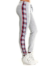Women - Plaid Side Stripe Heather Jogger