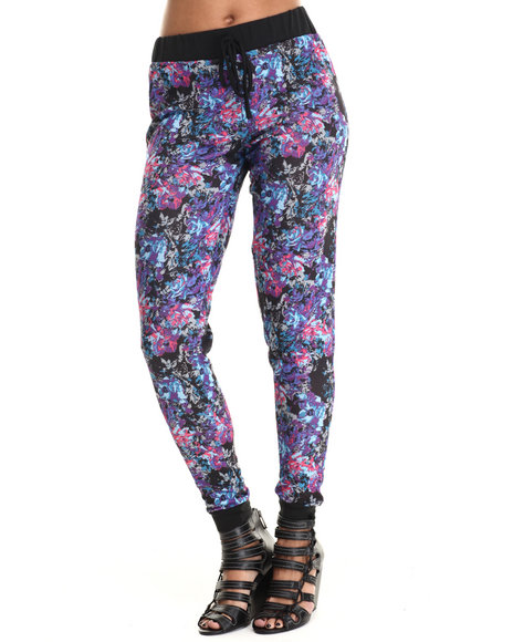 Ali & Kris - Women Multi,Purple Floral Print Jogger - $19.99