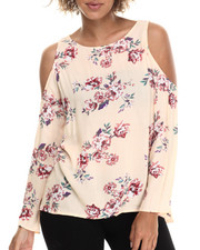 Women - Cold Shoulder Floral L/S Button Back Top