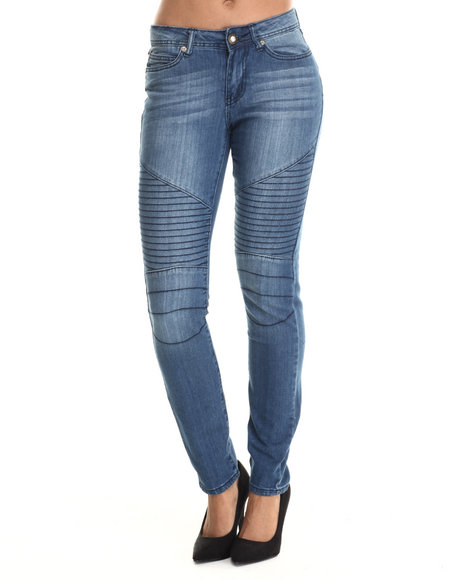 Baby Phat - Women Medium Wash Skinny Moto Jean