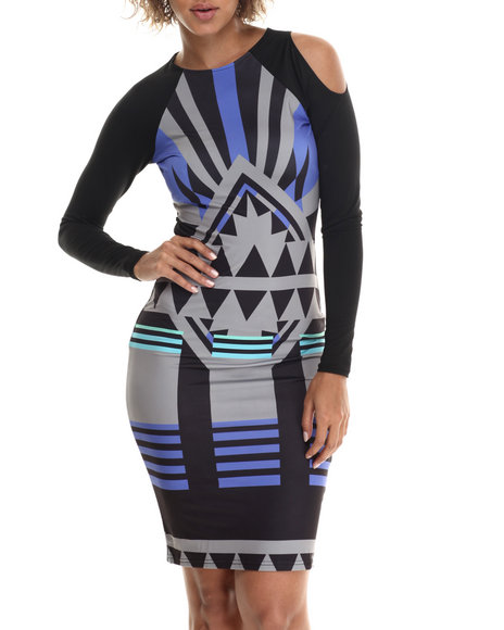 Baby Phat - Women Multi Aztec Print Cold Shoulder Dress