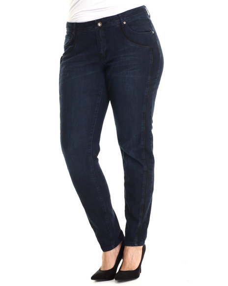Baby Phat - Women Dark Wash Pipping Details Skinny Jean (Plus)
