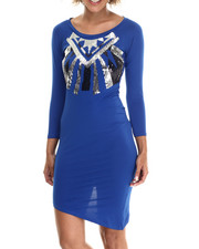 Women - Asymmetrical Aztec Sequin Dress