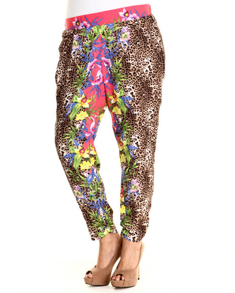 Ali & Kris - Women Animal Print Tropical Leopard Soft Pant (Plus)