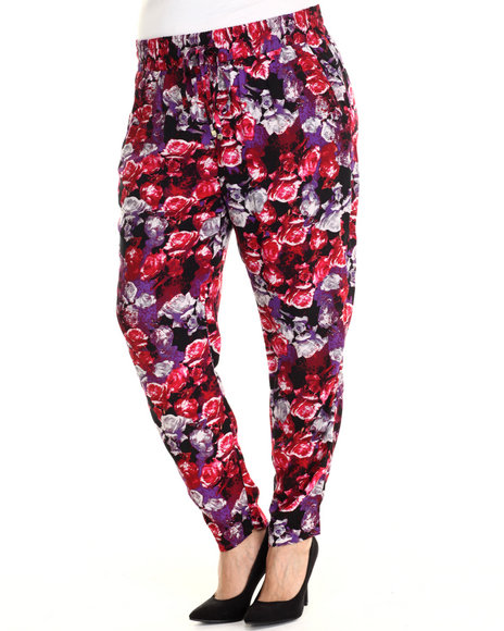 Ali & Kris - Women Pink,Purple Floral Print Soft Pant (Plus)