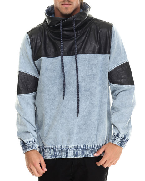 Buyers Picks - Men Light Wash Washed French Terry Chimney - Neck Pullover W/ Faux Leather Trim