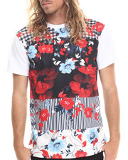 Shirts - Flowers patch print stripe s/s tee (e-longated detail)