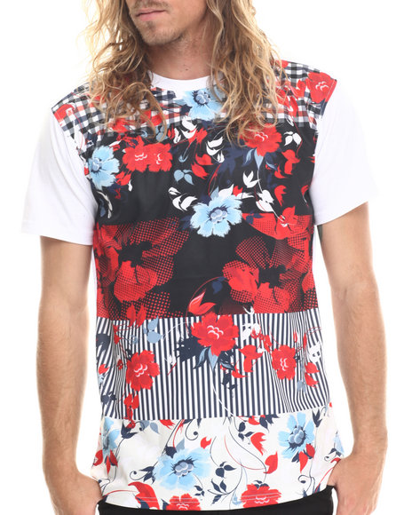 Buyers Picks - Men White Flowers Patch Print Stripe S/S Tee (E-Longated Detail)