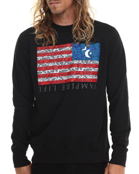 Ur-ID 212978 Vampire Life - Men Black Vamp Flag Sweatshirt