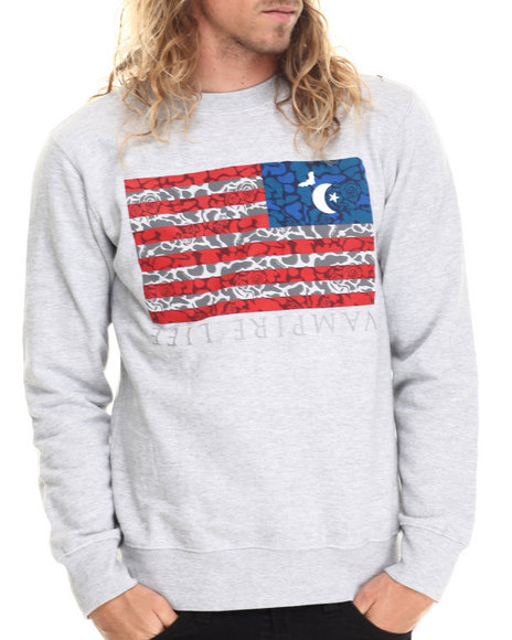 Ur-ID 212980 Vampire Life - Men Grey Vamp Flag Sweatshirt