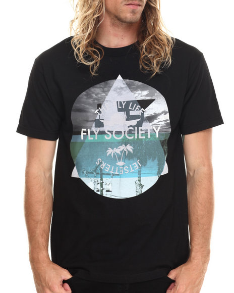 Flysociety - Men Black The Long Beach T-Shirt