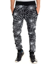 Buyers Picks - Spider web print drawstring jogger sweatpants