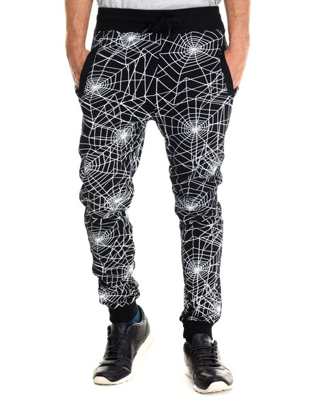 Ur-ID 213014 Buyers Picks - Men Black Spider Web Print Drawstring Jogger Sweatpants