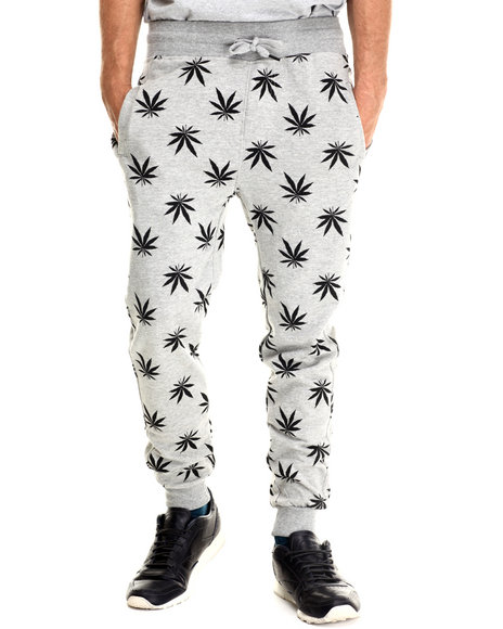 Buyers Picks - Men Grey Plant Life Allover Print Drawstring Jogger Sweatpants