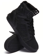 Supra - Skytop Black Leather/Waxed Suede Sneakers