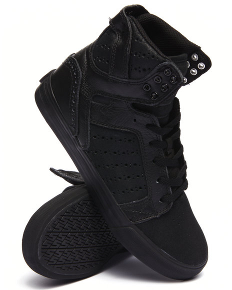 Supra - Men Black Skytop Black Leather/Waxed Suede Sneakers