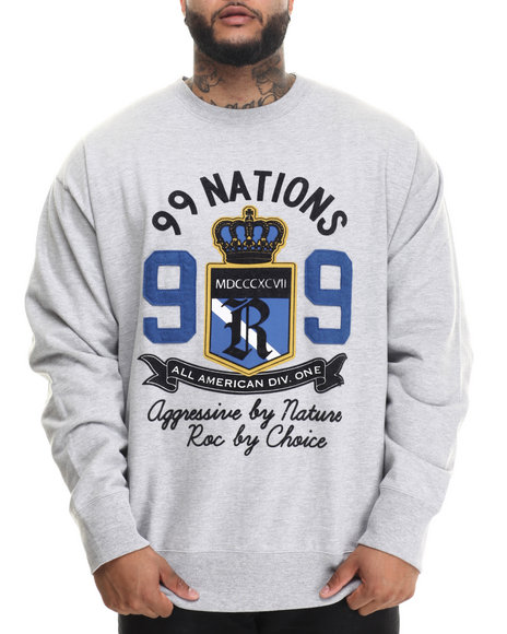 Rocawear - Men Grey 99 Nations Crew Fleece Sweatshirt (B&T)