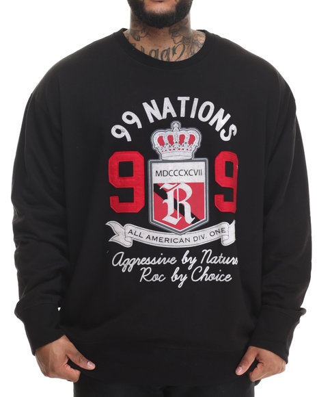 Rocawear - Men Black 99 Nations Crew Fleece Sweatshirt (B&T)