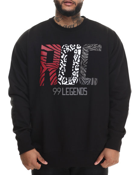 Rocawear - Men Black Roc Legends Crew Fleece Sweatshirt (B&T)