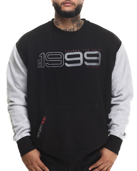 Rocawear - Men Black Hi-Tech Crew Fleece Sweatshirt (B&T)