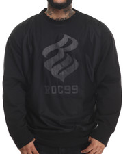 Pullover Sweatshirts - Mesh Panel Crew Fleece Sweatshirt (B&T)