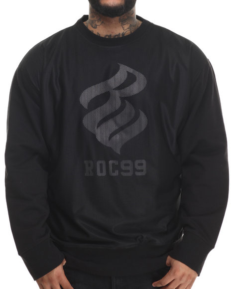 Rocawear - Men Black Mesh Panel Crew Fleece Sweatshirt (B&T)