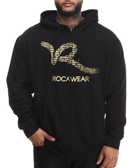 Rocawear - Men Black Foil Script Zip Hoodie (B&T)