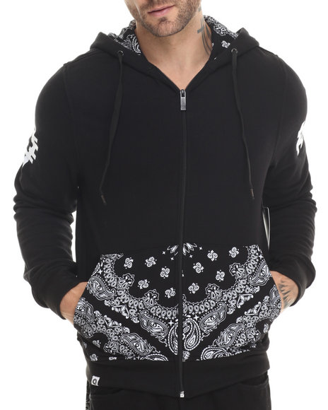 Ur-ID 213043 Akademiks - Men Black Deerfield Bandana Print Full Zip Hoody