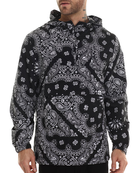 Akademiks - Men Black Clayton Allover Bandana Print Pullover Hoodie - $45.00