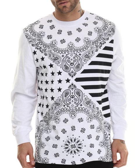 Akademiks - Men White Bellmawr Bandana Print L/S Shirt - $20.99