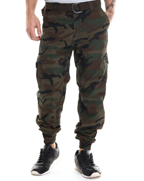 Buyers Picks - Men Green Flash - Spot Camo Cargo Joggers