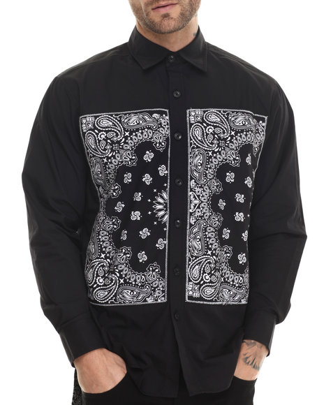 Ur-ID 213071 Akademiks - Men Black Andover Bandana Print Button Down Shirt by Akademiks