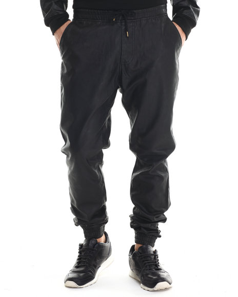 Buyers Picks - Men Black Faux - Leather Slim - Fit Joggers