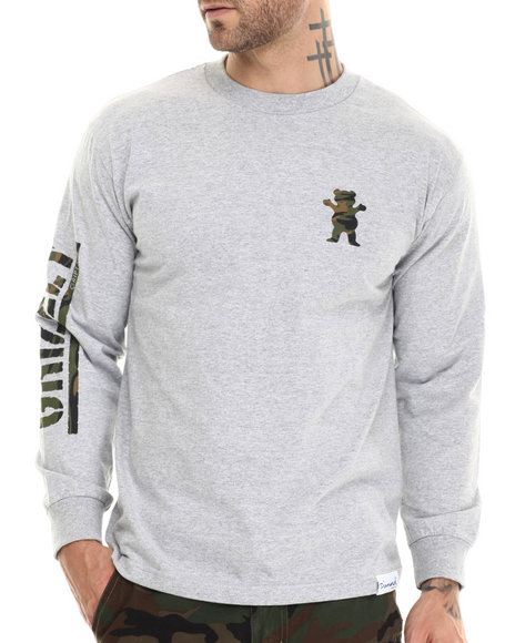 Grizzly Griptape - Men Grey Storm Camo Og Bear L/S Tee
