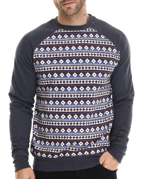 Buyers Picks - Men Navy Geo Aztec Raglan Sweatshirt - $25.00