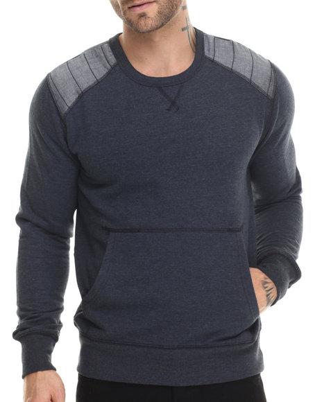 Buyers Picks - Men Navy Fleece Chambray Detail Crewneck Sweatshirt - $25.00