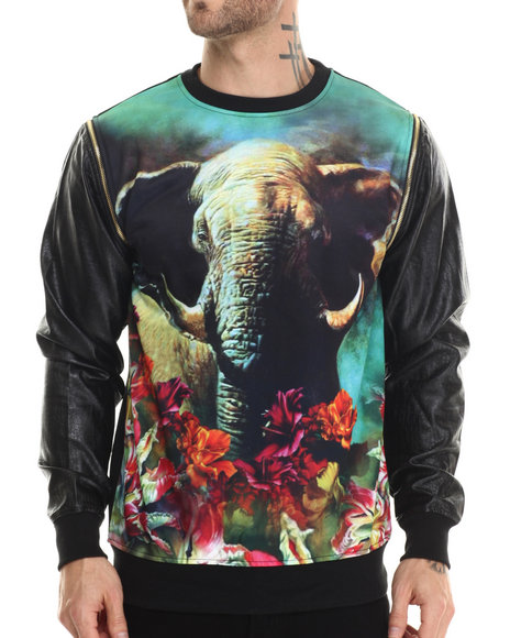 Buyers Picks - Men Black Elephant In Paradise Crewneck Sweatshirt