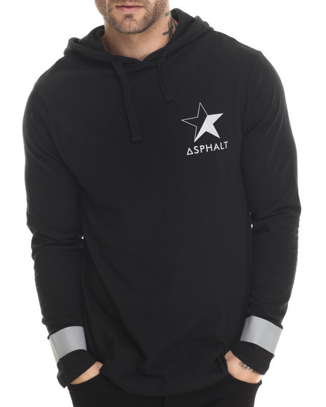 Asphalt Yacht Club - Men Black Reflex Hooded L/S Tee - $39.00
