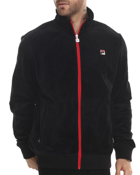 Fila - Men Black Slim Fit Velour Heritage Track Jacket