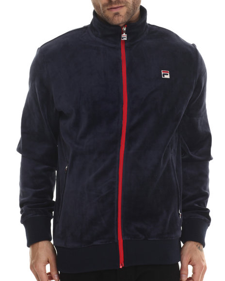 Fila - Men Navy Slim Fit Velour Heritage Track Jacket