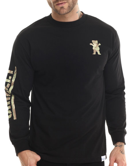Grizzly Griptape - Men Black Storm Camo Og Bear L/S Tee