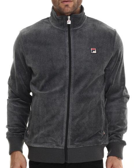 Fila - Men Grey Slim Fit Velour Heritage Track Jacket