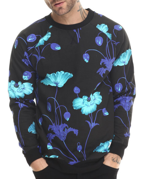 Akomplice Men Bright Poppy Crewneck Sweatshirt Black - $80.00