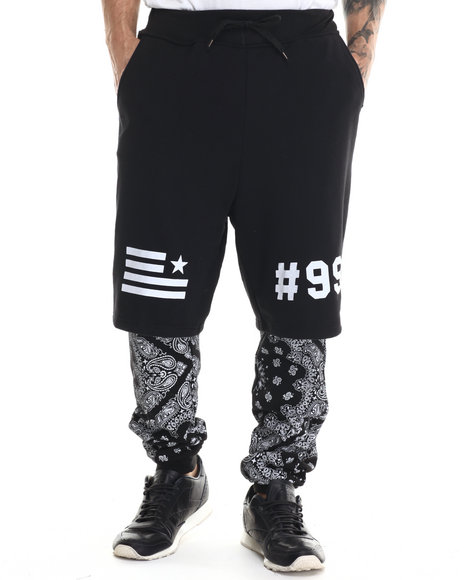 Ur-ID 213045 Akademiks - Men Black Lmar Bandan Print Double Layered Joggers Pants