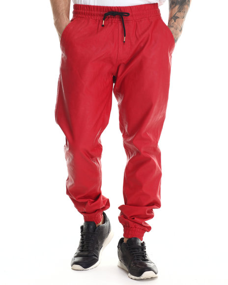 Buyers Picks - Men Red Faux - Leather Slim - Fit Joggers
