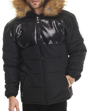 Heavy Coats - Summit Faux Fur Hoodie Jacket (patch detail)