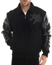 Leather Jackets - Navy Wool Legendary Pelle Pelle Jacket