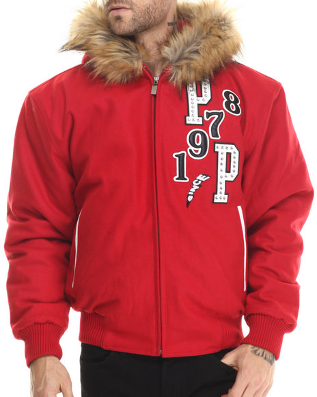 Pelle Pelle - Men Red Tiger Wool/Leather Jacket W/ Faux Fur Hoodie
